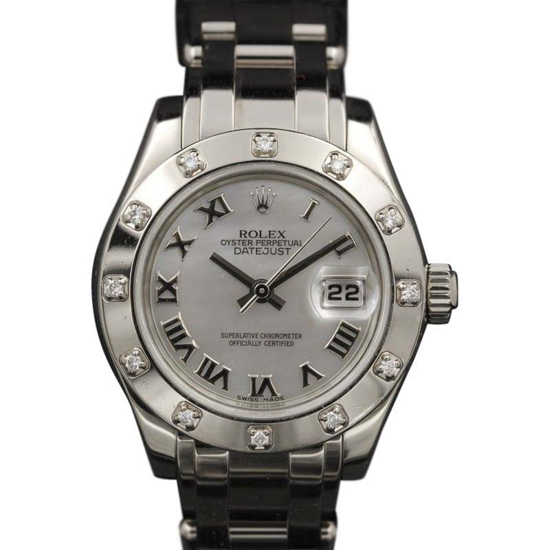 "Image of ""Rolex Datejust Pearlmaster 80319 White Mother Of Pearl Roman Dial 29mm"""