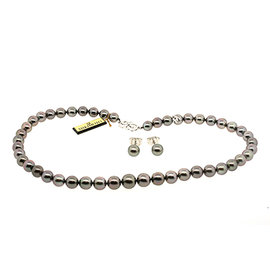 Mikimoto 18K White Black South Sea Pearl Diamond Necklace & Earring Set