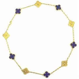 Van Cleef & Arpels 18K Yellow Gold Lapis Lazuli Motif Alhambra Necklace