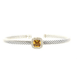 David Yurman Albion 925 Sterling Silver with Citrine and Diamond Station Cable Cuff Bracelet
