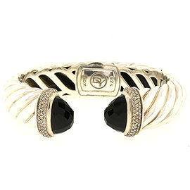 David Yurman 925 Sterling Silver with Onyx and Diamond Cable Cuff Bracelet
