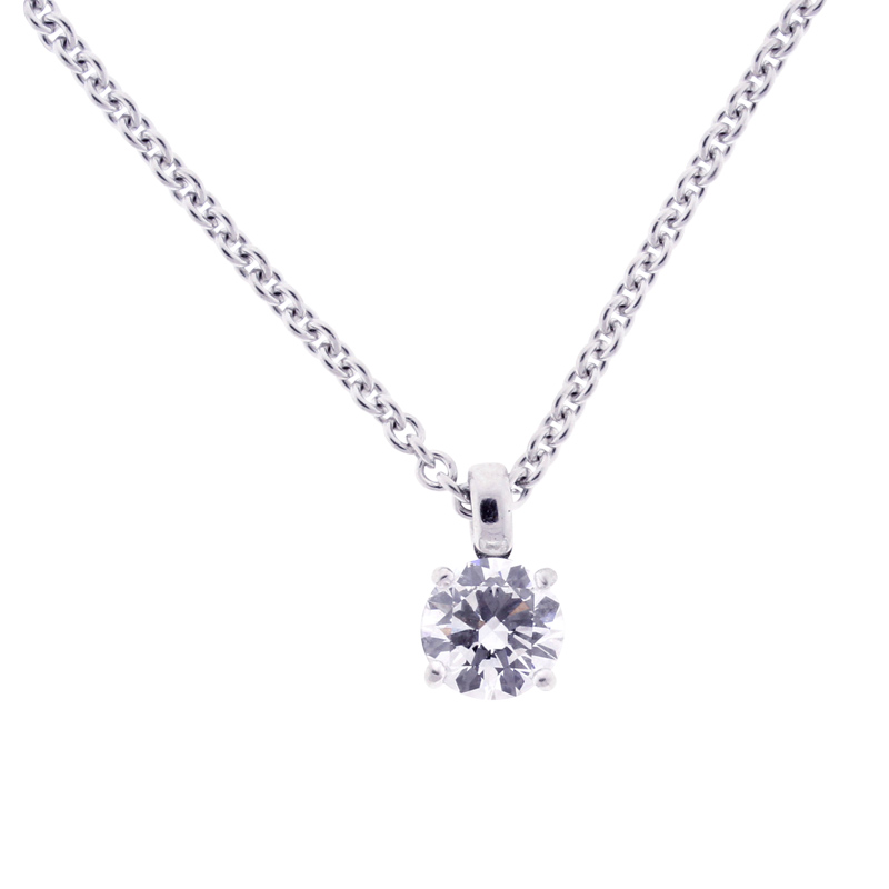 "Image of ""Bulgari 18K White Gold 1.01ct Diamond Solitaire Necklace"""