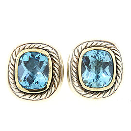 David Yurman Sterling Silver and 14K Yellow Gold Blue Topaz Stud Albion Cable Earrings
