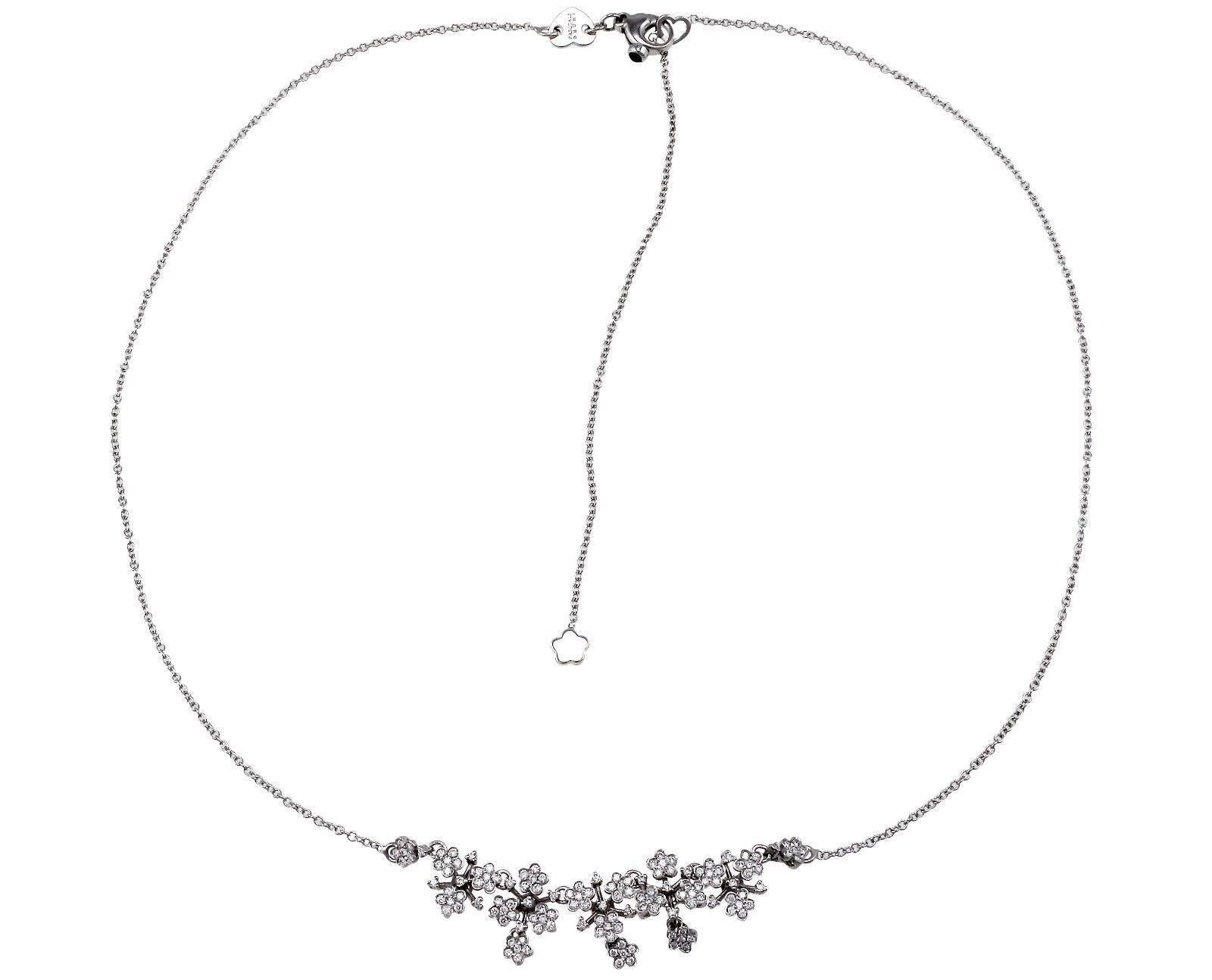 """""""""""Pasquale Bruni 18K White Gold Prato Fiorito Diamond Flower Necklace"""""""""""" 2104279"""
