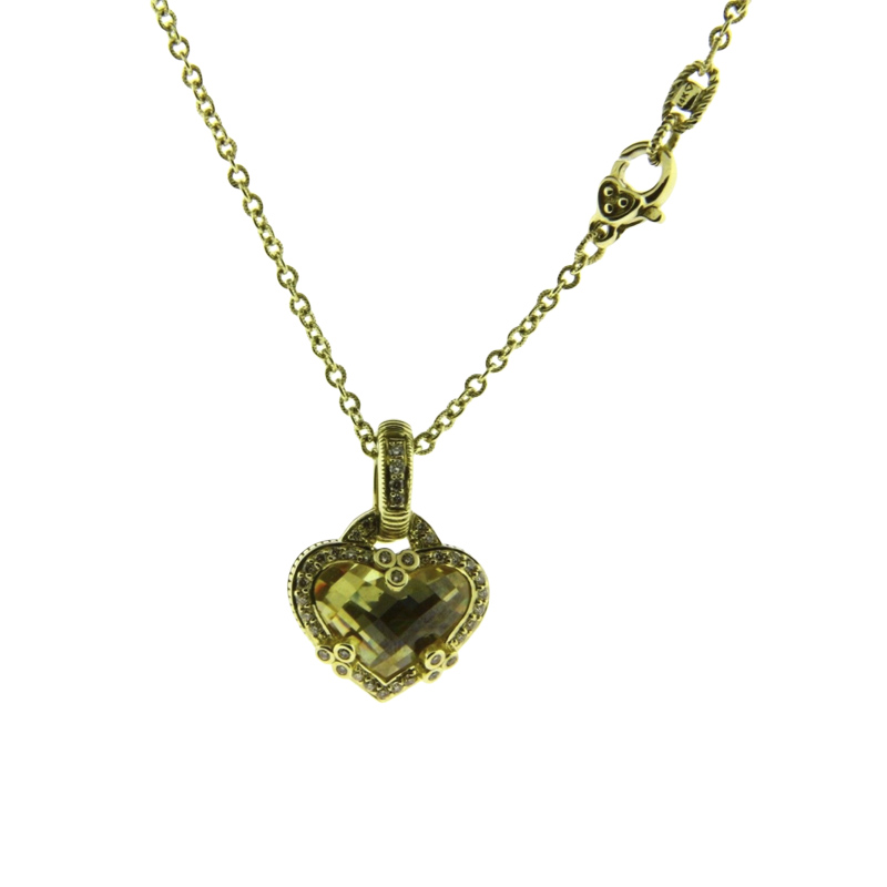 "Image of ""Judith Ripka 14K Yellow Gold Diamond & Canary Quartz Necklace"""