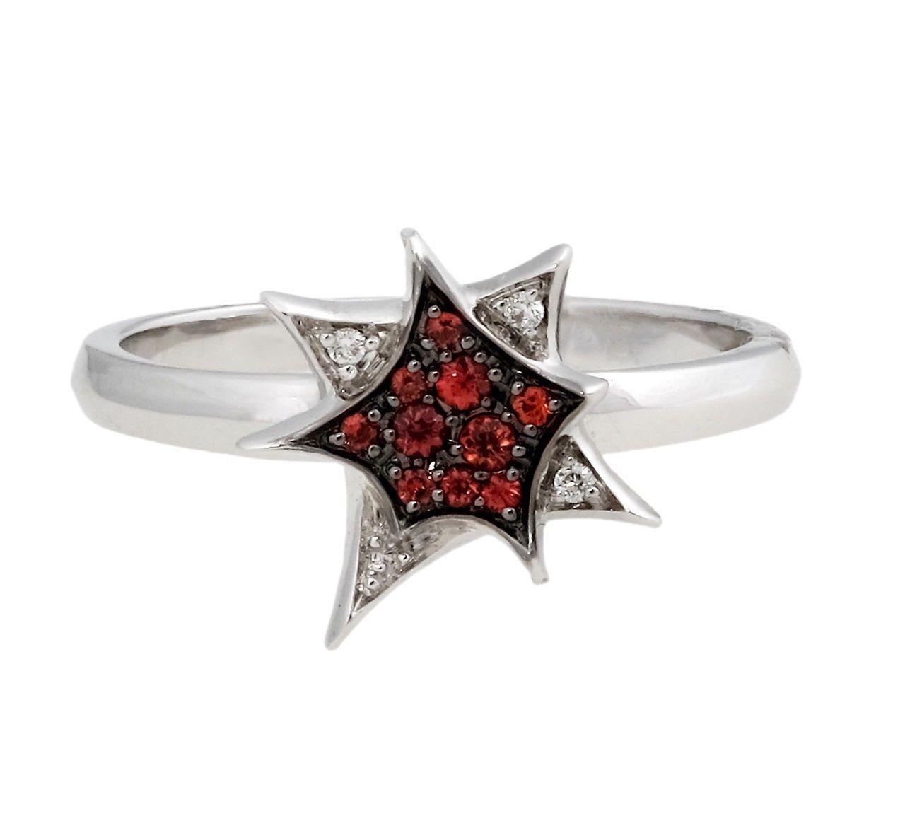 """Image of """"Stephen Webster 18K White Gold Diamond & Mandarin Sapphire Star Ring"""""""