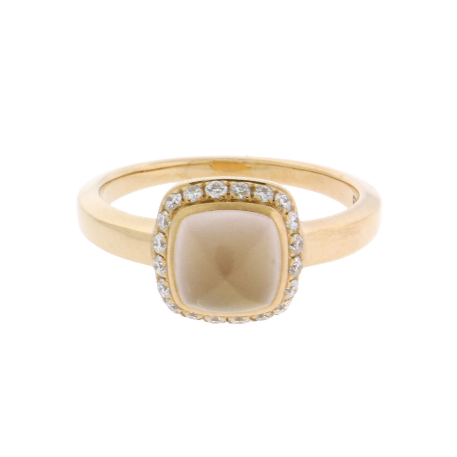 "Image of ""Fred of Paris 18K Rose Gold Pink Quartz & Diamond Ring Size 4.5"""
