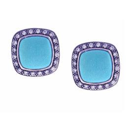 David Yurman Sterling Silver Turquoise Moonlight Ice Albion Diamond Earrings