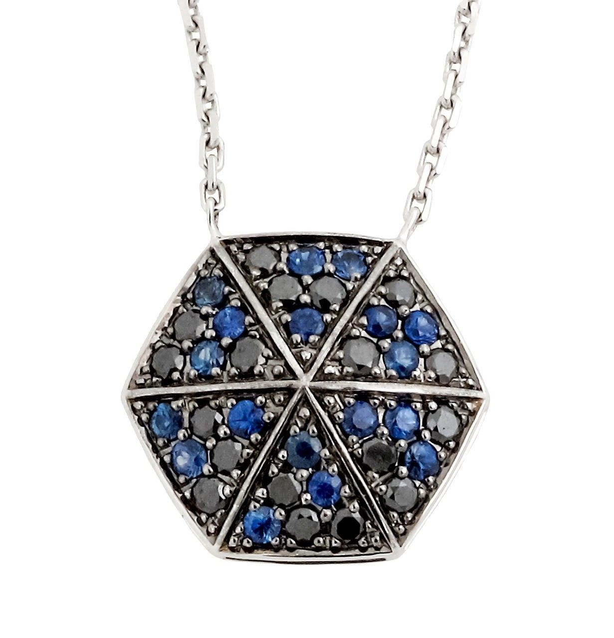 "Image of ""Stephen Webster 18K White Gold Blue Sapphire & Black Diamond Necklace"""