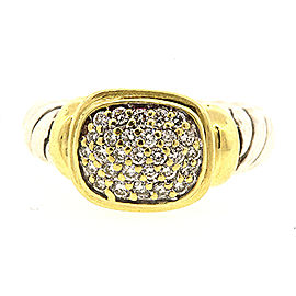 David Yurman 925 Sterling Silver & 18K Yellow Gold with Diamond Noblesse Ring Size 5.25