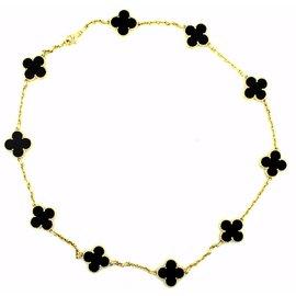 Van Cleef & Arpels Alhambra 18K Yellow Gold & Black Onyx Motif Necklace