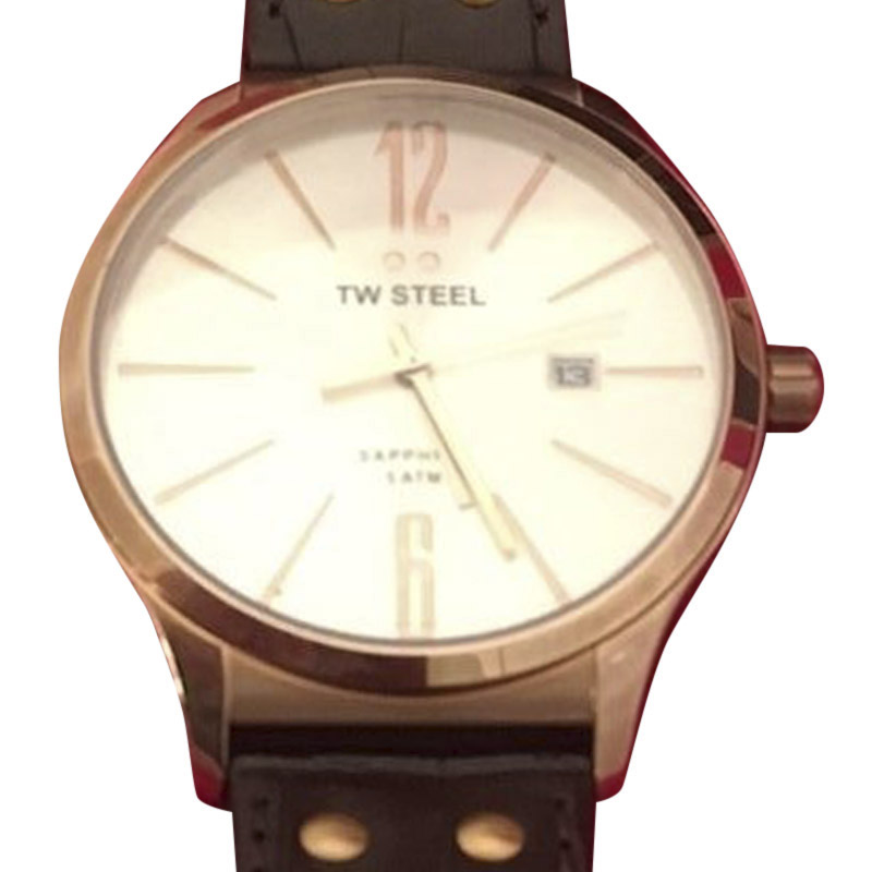 "Image of ""TW Steel Tw1304 Rose Gold Tone Stainless Steel & Silver Dial 45mm Mens"""