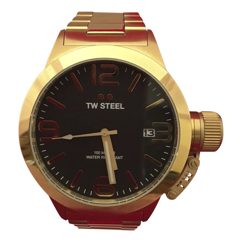"Image of ""TW Steel Canteen Cb91 Gold Plated & Black Dial 45mm Mens Watch"""
