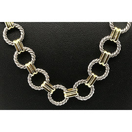 David Yurman 925 Sterling Silver & 18K Yellow Gold Vintage Circle Cable Chain Necklace