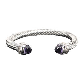 David Yurman 925 Sterling Silver Amethyst and Diamonds Cable Bracelet Bangle