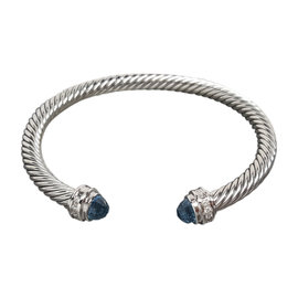 David Yurman 925 Sterling Silver Blue Topaz and Diamonds Cable Bracelet