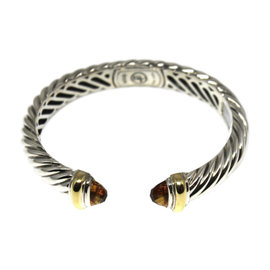 David Yurman 925 Sterling Silver & 18K Yellow Gold Citrine Waverly Cable Cuff Bracelet