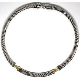 David Yurman 925 Sterling Silver & 14K Yellow Gold Cable Choker Necklace