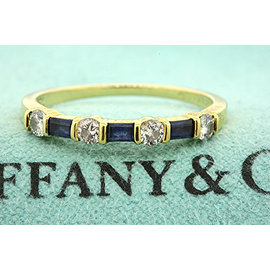 Vintage Tiffany & Co. 18K Yellow Gold with 0.20ct Diamond & Sapphire Band Ring Size 6