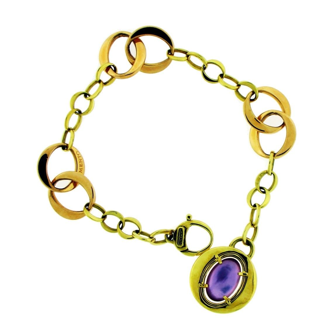 "Image of ""Chimento 18K Rose Gold with Amethyst & Mother of Pearl Bracelet"""