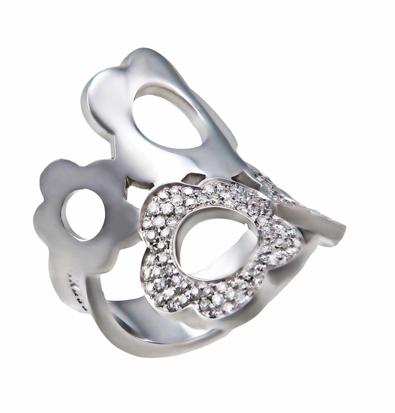 """""Pasquale Bruni Flower Mima 18K White Gold 0.62ct Diamond Ring Size 7"""""" 2327019"