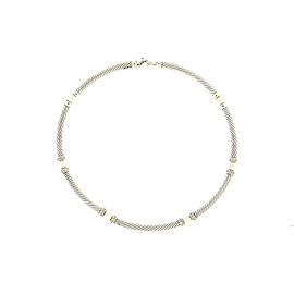 David Yurman 925 Sterling Silver Pearl 0.50ct. Diamond Cable Choker Chain Necklace