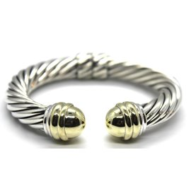 David Yurman 925 Sterling Silver & 14K Yellow Gold Classic Cable Cuff Hinge Bracelet