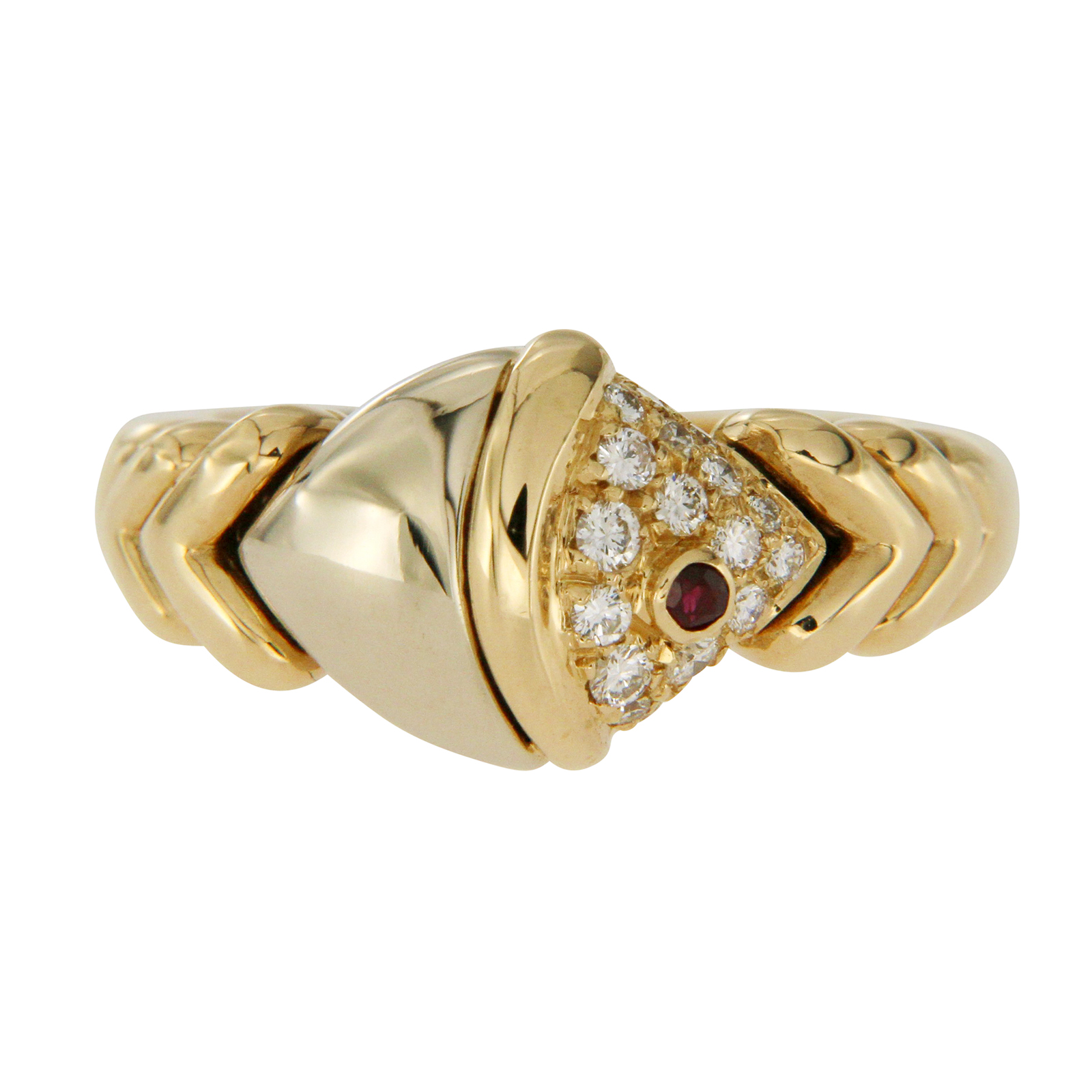 "Image of ""Bvlgari Diamond & Ruby 18K Two Tone Gold Fish Ring Size 5.75"""