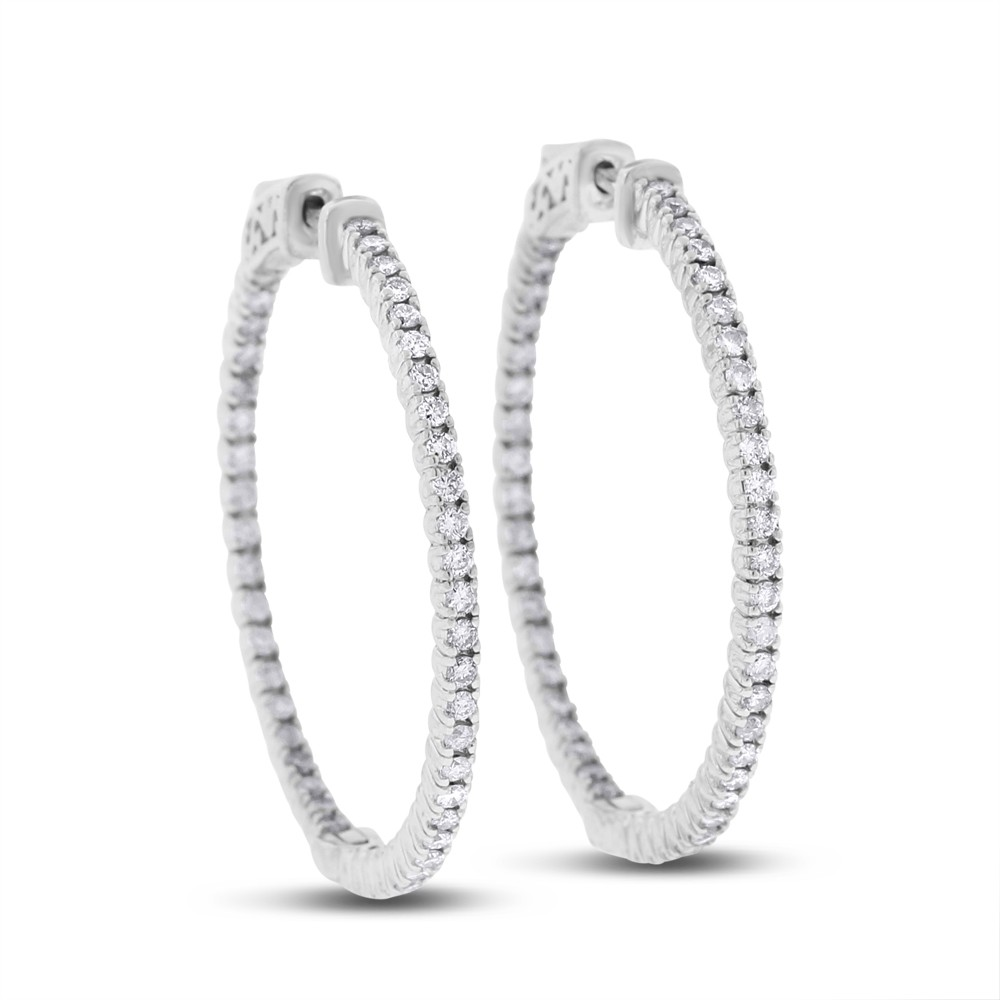 "Image of ""14k White Gold 1.32 Ct. Natural Diamond Large Hoop 1 3/8 Earrings"""
