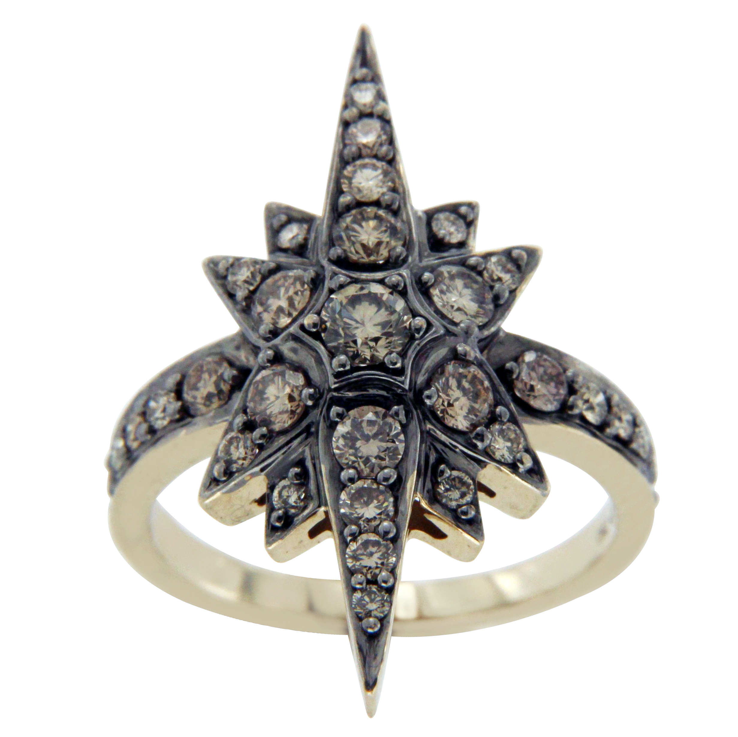 "Image of ""H. Stern 18K Yellow Gold & Champagne Diamonds Genesis Star Ring Size 6"""
