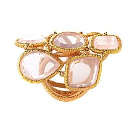 18K Rose Gold with Pink Quartz Ring Size 6.5