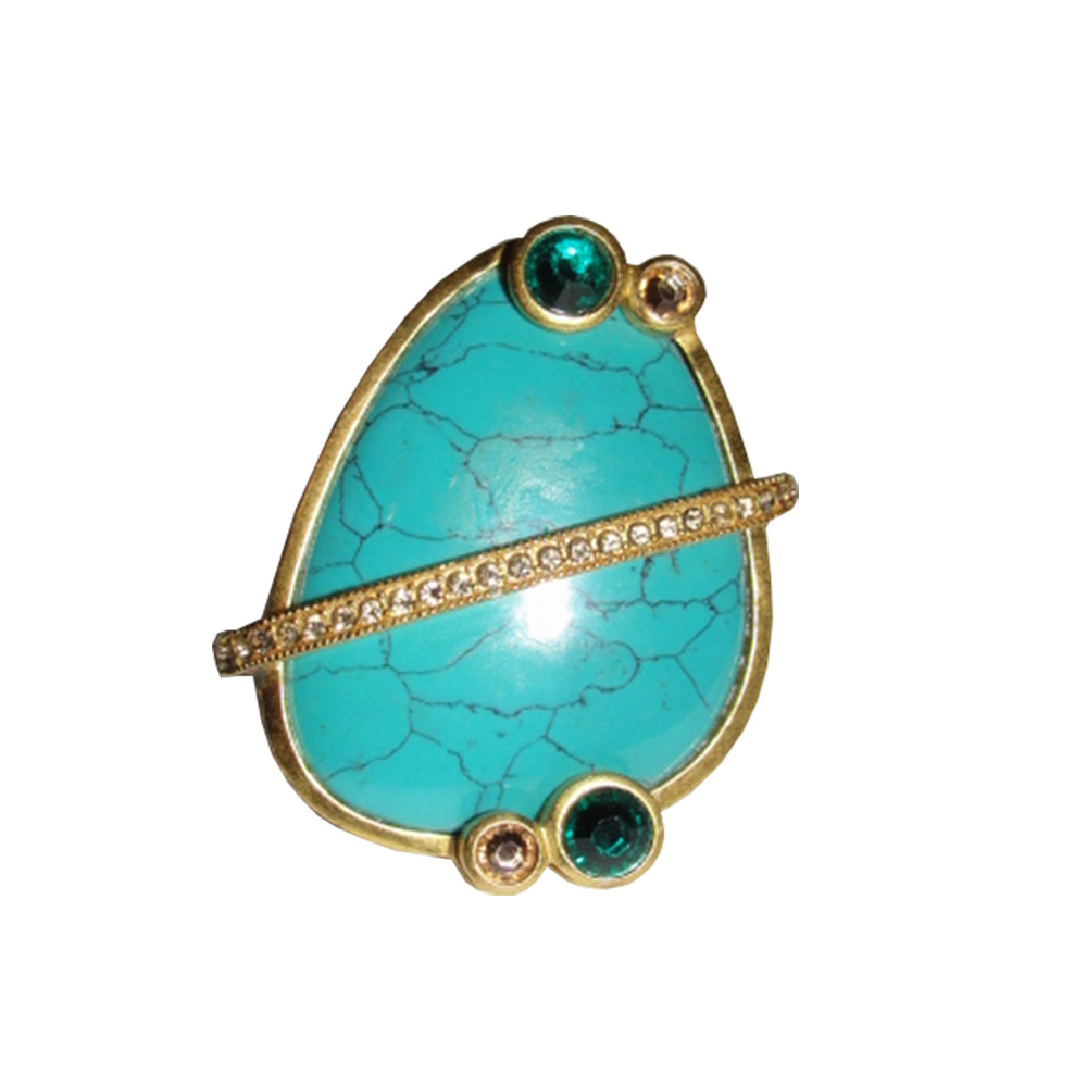"Image of ""Massive Dior Turquoise Cocktail Rhinestone Ring Size 6"""