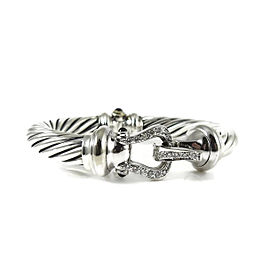 David Yurman Sterling Silver & 18K White Gold 0.46tcw Diamond Thoroughbred Cable Buckle Bracelet