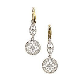 Platinum 14K Yellow Gold Art Deco Wire Top Dangle Earrings