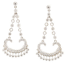 18K White Gold Art Deco Diamond Dangle Earrings