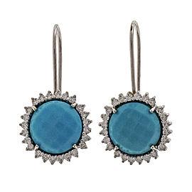 Piero Milano 18K White Gold Turquoise & Diamond Earrings