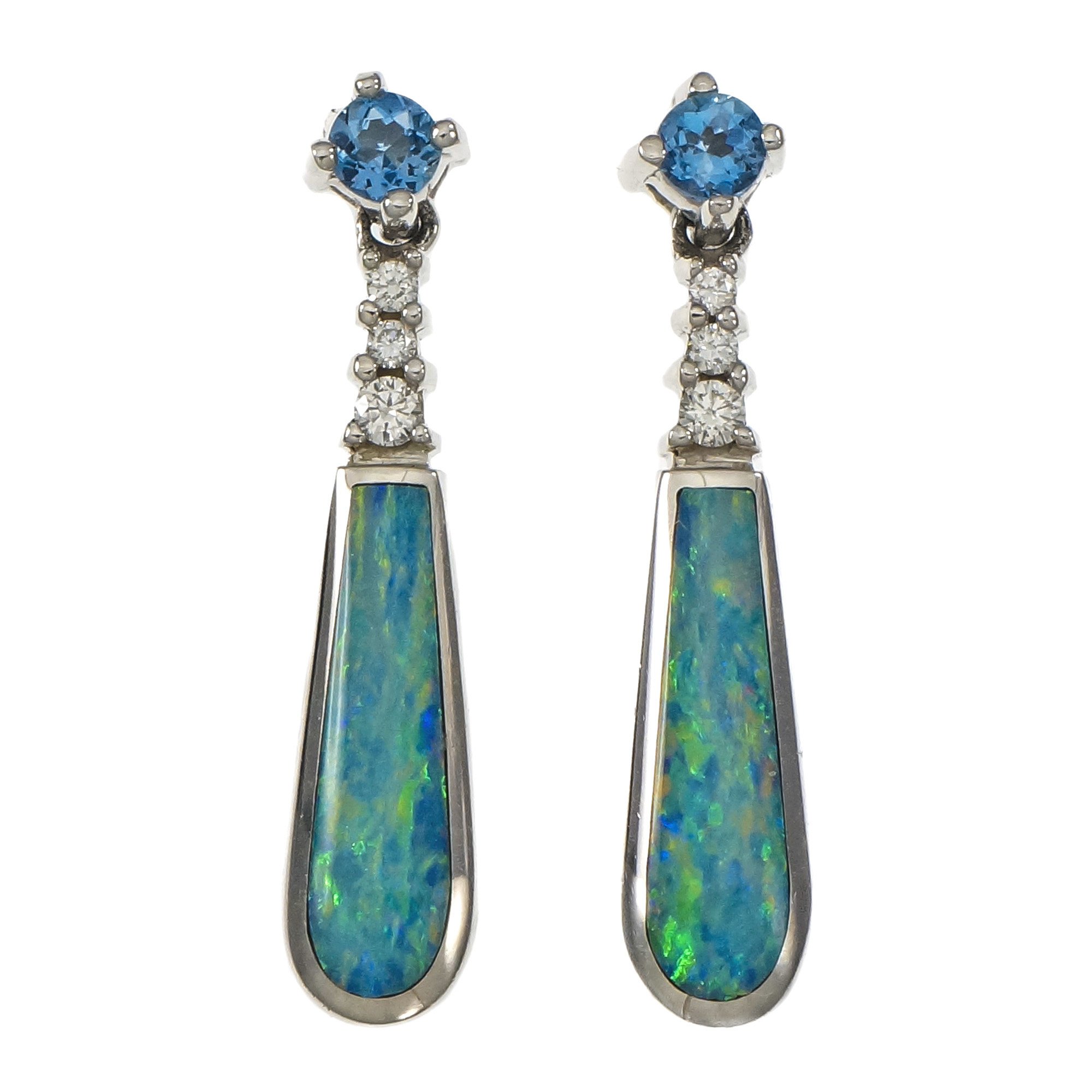 "Image of ""Kabana 14K White Gold Opal Aquamarine Diamond Dangle Earrings"""