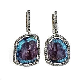 18K White Gold Diamond Paraiba Tourmaline Dangle Earrings