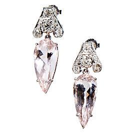 Platinum Morganite & Diamond Dangle Earrings