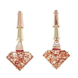 14K Rose and Green Gold Art Deco 29.00ct Quartz Dangle Earrings