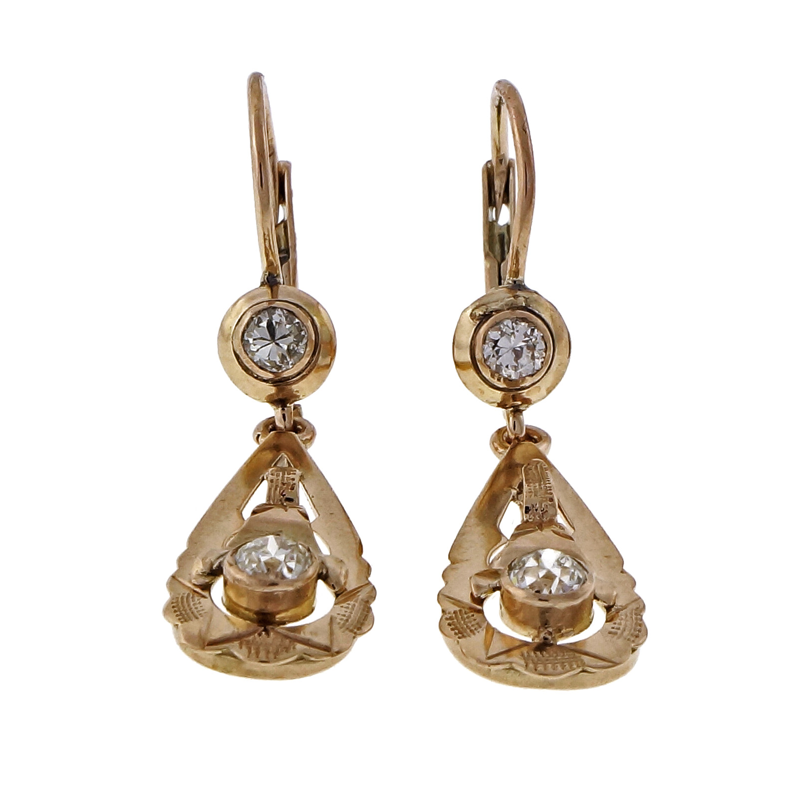 "Image of ""10K Rose Gold & 0.54ct Diamonds Dangle Earrings"""