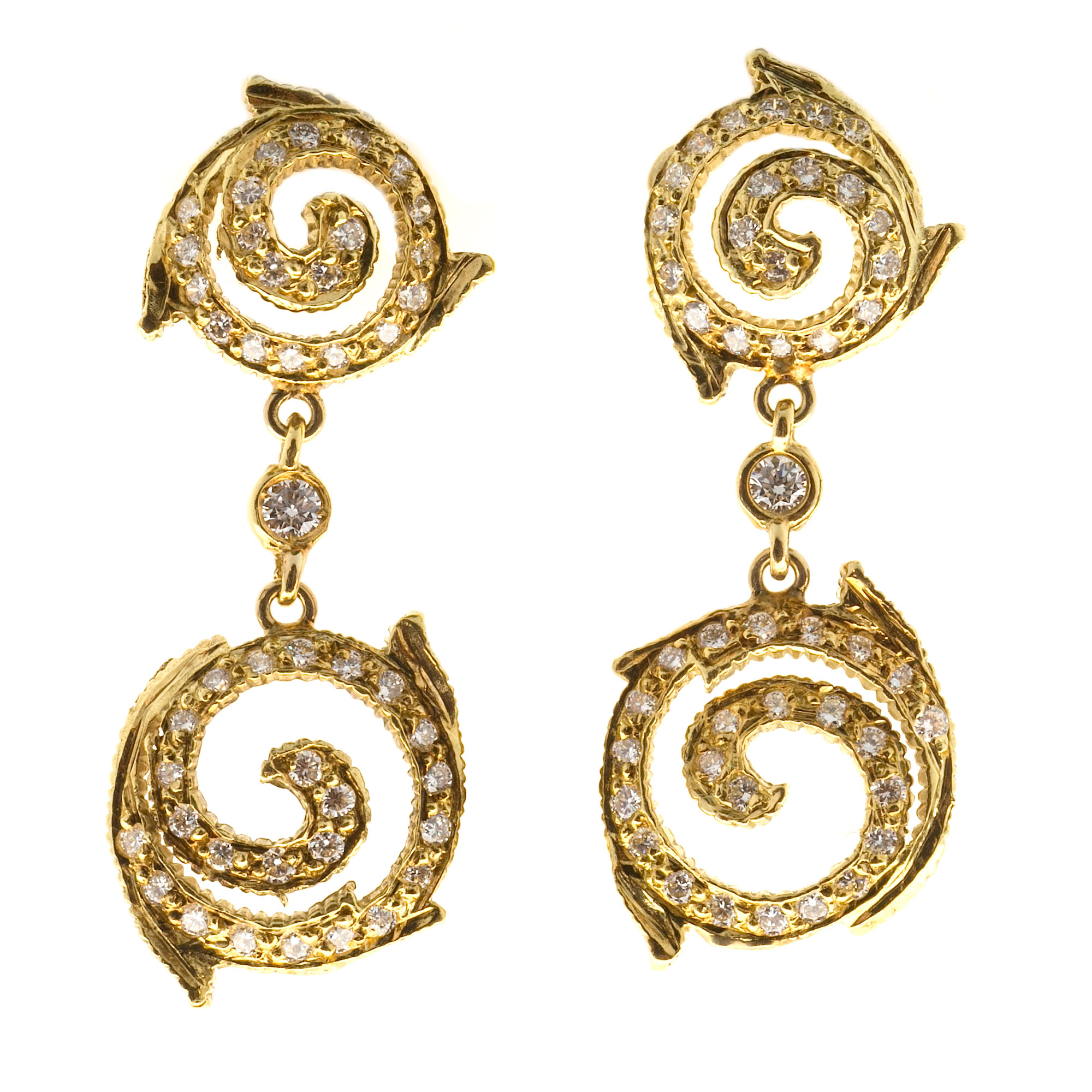 "Image of ""Doris Panos 18K Yellow Gold & 0.90ct Diamond Swirl Dangle Earrings"""