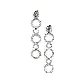 14K White Gold 1.00ct Diamond Long Circle Design Earrings