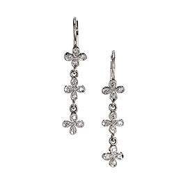 Cathy Waterman Platinum Four Petal Diamond Dangle Earrings