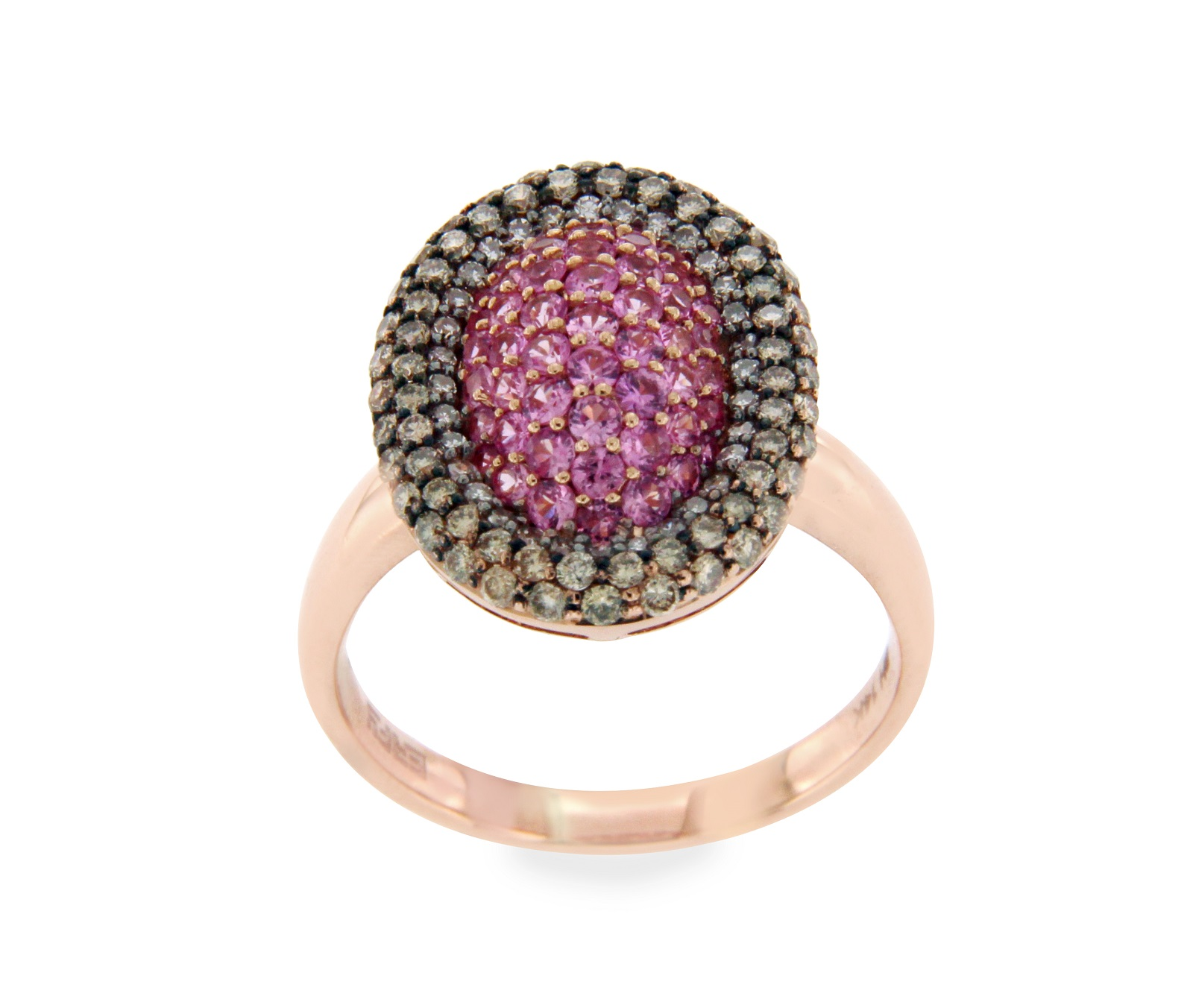 "Image of ""Effy 14K Rose Gold Brown Diamond & Pink Sapphire Ring Size 7.25"""