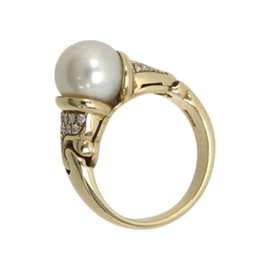 Bulgari 18K Yellow Gold Pearl Diamond Ring Size 5.75