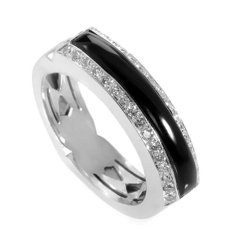 "Image of ""Stephen Webster 18K White Gold Onyx & Diamond Ring Size 7.25"""