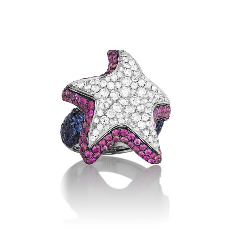 "Image of ""Maggioro 18K White Gold Diamond & Multi Sapphire Brilliant Star Ring"""