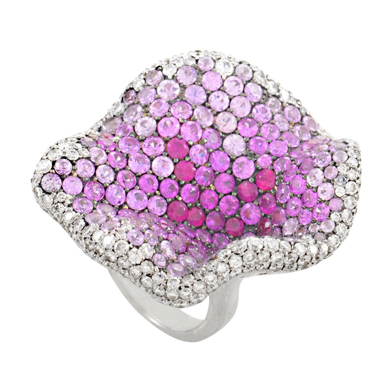 "Image of ""Maggioro 18K White Gold Diamond & Pink Gemstone Cocktail Ring Size"""