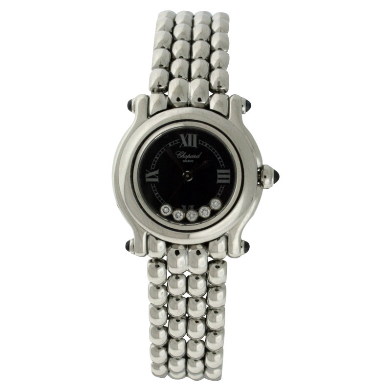 "Image of ""Chopard Happy Sport Round Stainless Steel 5 Floating Diamonds 26mm"""